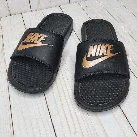 Nike Black Gold Logo Padded Slides